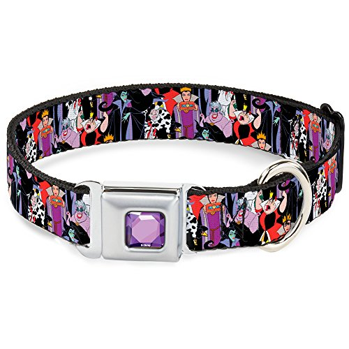Dog Collar Seatbelt Buckle 5 Disney Villains Stacked 13 to 18 Inches 1.5 Inch Wide