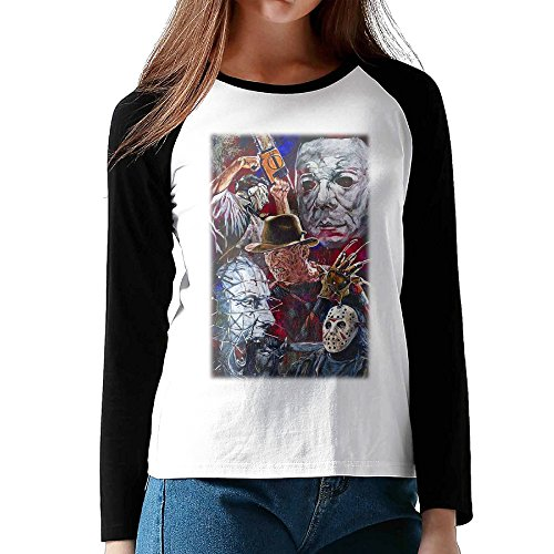 Horror Movie Character Halloween Black 80s Round Neck Baseball T Shirts (80s Characters)