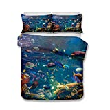 Helengili 3D Digital Printing Bedding Set Submarine World Ocean Sea Coral Polypite Fish Turtle Bedding Bedclothes Duvet Cover Sets Bedlinen 100 Percent Microfiber Present ,Twin