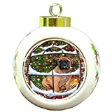 Please Come Home For Christmas Bullmastiff Dog Sitting In Window Round Ball Ornament D369