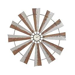 Deco 79 84204 Wheel Iron Wall Clock, 39, Gray/Black/White