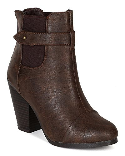 Ankle Heel Chelsea Bootie Round Women Toe BF24 Chunky Leatherette Brown Breckelles w8q10n