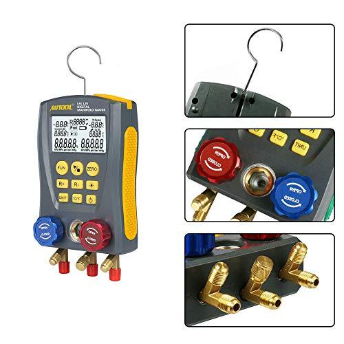 BELEY Refrigeration Digital Manifold HVAC System Gauge Set, High-Precision  Vacuum Pressure Temperature Leakage Tester Dignostic Meter Kit for Testing