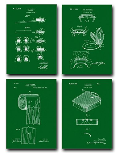 Bathroom Patent Print Set of Four Art Posters - Green