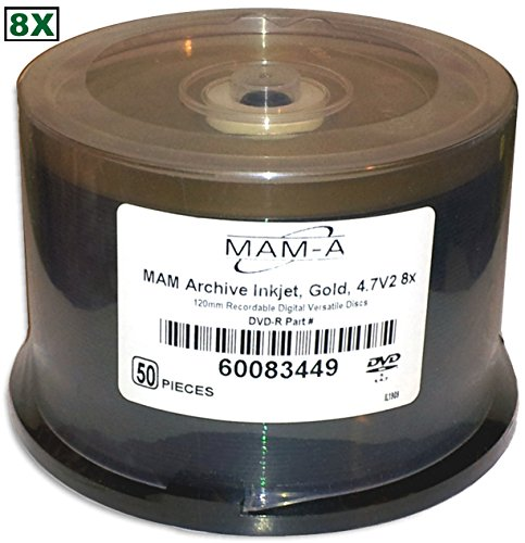 4.7 GB MAM-A (Mitsui) Gold Inkjet Hub Printable/GOLD 8X DVD-R's 50-Pak in Cakebox by MAM-A