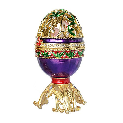 Russian Faberge Style Egg Trinket Jewelry Box with, used for sale  Delivered anywhere in USA