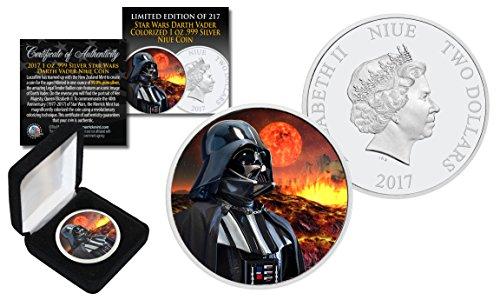 2017 NZM1 oz Pure Silver BU Star Wars DARTH VADER Coin w/MUSTAFAR Lava Backdrop