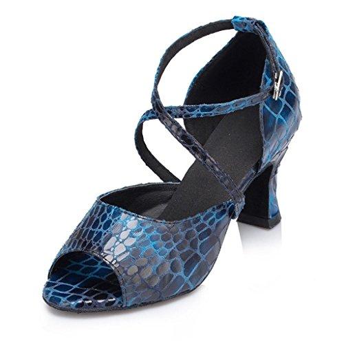 Flare 8 Salsa Talon Salle De Pratique Snakeskin Bal Danse Latine Monie Moderne Femmes Des 2 De Chaussures Bleu qwanp6t