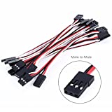 Servo Extension Cable Lead Wire 100mm 3.93 inch Cord Male to Male JR Plug for Futaba( Pack of 10PCS)