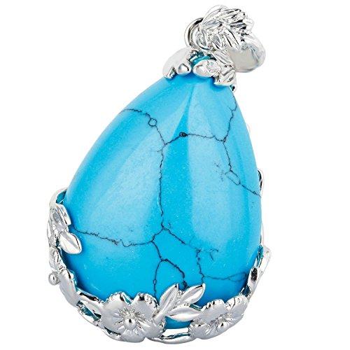 TUMBEELLUWA Stone Pendant Necklace for Women,Teardrop Shape Flower Chakra Reiki Healing Crystal, Blue Howlite Turquoise