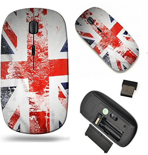 MSD Wireless Mouse Travel 2.4G Wireless Mice with USB Receiver, Noiseless and Silent Click with 1000 DPI for notebook, pc, laptop, computer, mac book design: 29834313 Closeup of grunge Union Jack flag