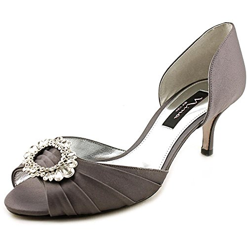 Nina Women's Crystah Dress Pump Silver Royal Steel Luster Satin Size 8.0 M US (Satin Luster Steel)