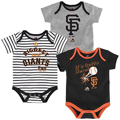 San Francisco Giants Newborn Black Gray White Stripe 'Home run' 3 Piece Creeper Set (12 Months)