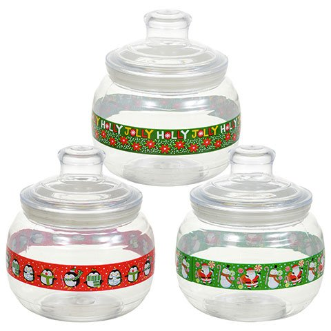 Christmas Round Plastic Holiday Candy Jars with Lids -Pack Of 3