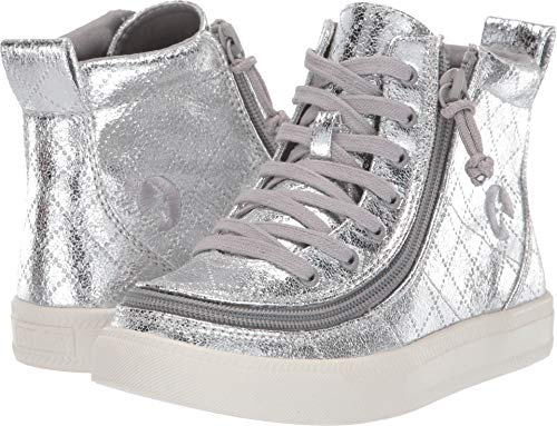 (BILLY Footwear Kids Baby Girl's Classic Lace High (Toddler/Little Kid/Big Kid) Silver Metallic 2 M US Little Kid)