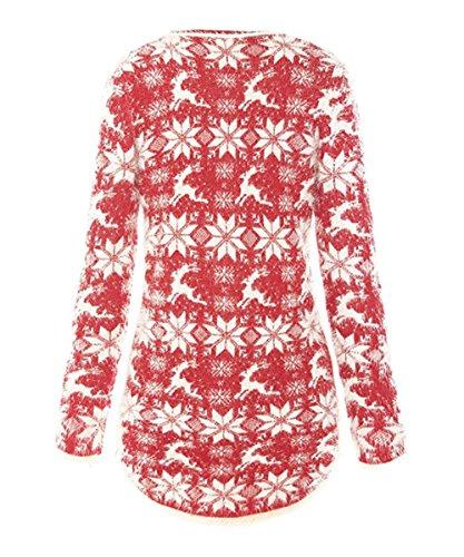 Wicky LS Mujer Rudolph Regalo Navidad Suéter Top Tejido Rojo