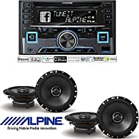 Alpine CDE-W265BT, Double DIN CD Car Stereo w/Bluetooth, USB & Auxiliary Input S-S65 6-1/2 2-way Car Speakers