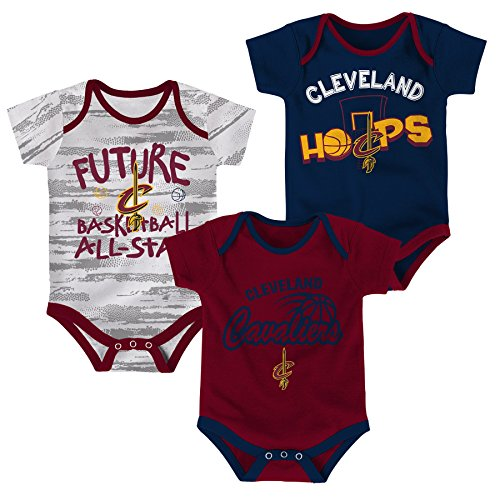 OuterStuff NBA Newborn & Infant 3 Piece Onesie Set Cleveland Cavaliers-Burgundy-6-9 (Cleveland 3 Piece Set)