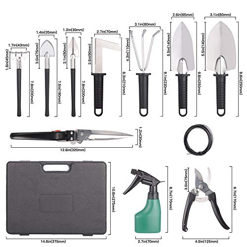 Gardening Gifts Tools  Sets,12 Pieces stainless steel Garden Tool Kit with Carrying Case for women or men Gardener -Black by LQLGT (Image #1)