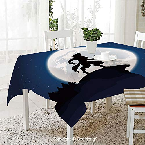 BeeMeng Large dustproof Waterproof Tablecloth,Family Table Decoration,Wolf,Full Moon Night Sky Growling Werewolf Mythical Creature in Woods Halloween,Dark Blue Black White,70 x 104 inches