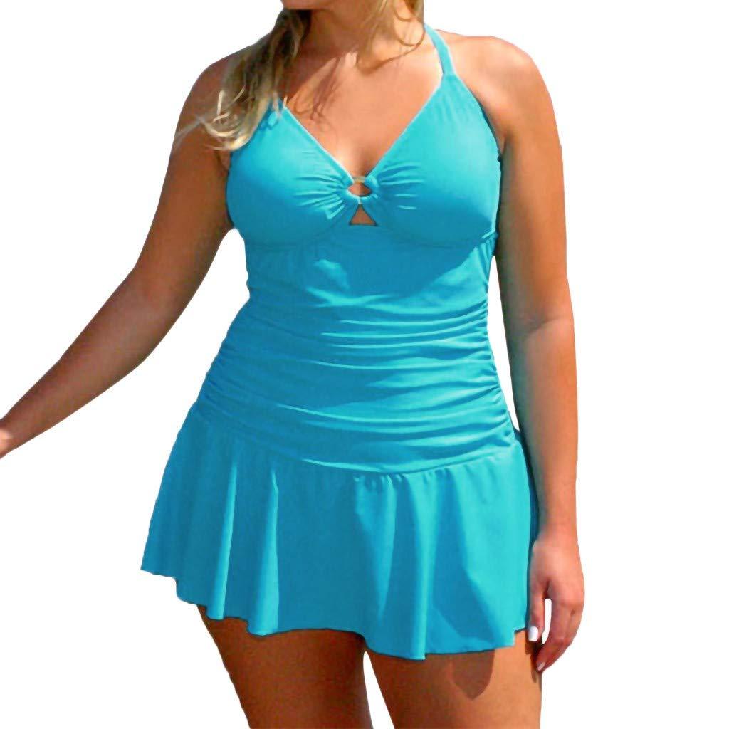 Alaso Damen Badekleid Plus Size Strandkleid Figurformender Einteiler Badeanzug Swimsuit Strandmode Einfarbig Bademode Bikini
