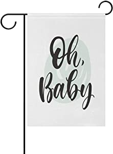 Oh Baby Shower Garden Flag Large Yard Flag Double-Sided Welcome Polyester Yard Banner for Outdoor Home Decor - 12.5 x 18 Inch