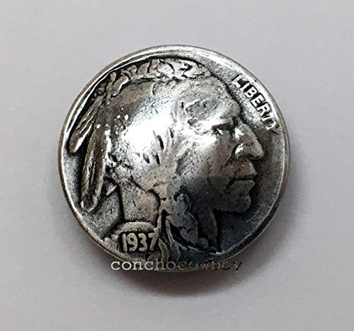 (JumpingLight Buffalo Nickel Indian Head Reproduction Coin Concho 7/8'' Screw Back Biker Concho Perfect for Crafts, Scrap-Booking, Jewelry, Projects, Quilts)