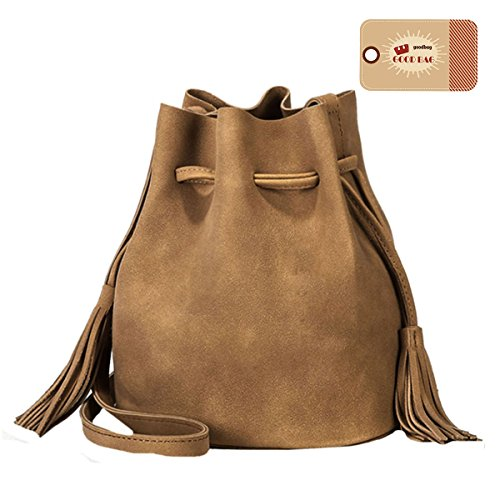 Suede Handbag Womens (Goodbag Boutique Women Solid Color Suede Bucket Bag Tassel Drawstring Crossbody Bag (Khaki))