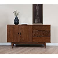 Rubber Wood Tessuto Buffet in Tobacco Finish - Assembly Required 55.1 inches Wide x 17.7 inches Deep x 30.7 inches High / 119lbs