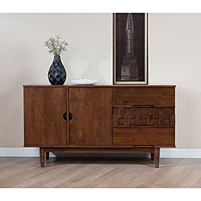 Rubber Wood Tessuto Buffet in Tobacco Finish - Assembly Required 55.1 inches Wide x 17.7 inches Deep x 30.7 inches High / 119lbs -  - sideboards-buffets, kitchen-dining-room-furniture, kitchen-dining-room - 51kYe9vaSuL. SS400  -