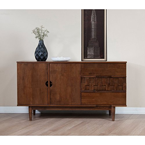 Rubber Wood Tessuto Buffet in Tobacco Finish - Assembly Required 55.1 inches Wide x 17.7 inches Deep x 30.7 inches High / 119lbs Deep Tobacco Finish Wood
