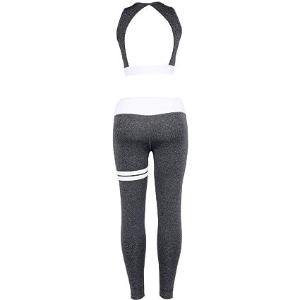 Yefree Vêtements de Sport pour Femmes Combinaison de Sport Ensemble de 2  vêtements de Yoga Retour Gilet de Sport + Leggings Fitness Vêtements  Workout ... 49cf6ed67fb