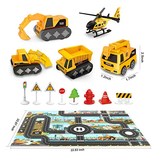Construction Truck Toys and Play Mat   Multifunction Scenestorage Truck with Sounds and Lights   Die-cast Vehicle Car Toys Set   Birthday Gift Toys for Boys 3,4,5,6,7 Year Olds