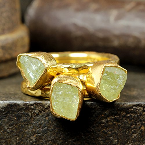 Natural Raw Yellow Apatite Stackable Ring Set Hammered 24K Yellow Gold Vermeil 925 Sterling Silver Set of Three Rough Gemstone Stacking Set