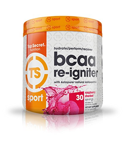 Top Secret Nutrition BCAA Re-Igniter Vegan Amino Acid Supplement with Astaxanthin and Electrolyte, Hydration Blend with Coconut water, 9.80 oz (30 servings), Raspberry Sherbet by Top Secret Nutrition