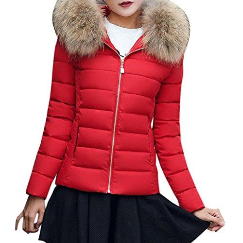 K-youth®® Las Mujeres abrigan Abrigos Largos de Piel de la Chaqueta de Invierno Parka Outwear Rojo