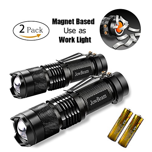 2 Packs Bright Mini Tactical Flashlight,Magnetic Based Mini Work Light (AA battery included),Zoomable,IP4 Water Resistant,Q5 LED,3 Light Modes for camping and hiking,Work bench