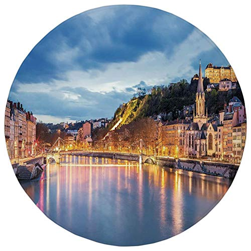 WEWELA Round Rug Mat Carpet,European,View of Saone River in Lyon City at Evening France Blue Hour Historic Buildings,Multicolor,Flannel Microfiber Non-Slip Soft Absorbent,for Kitchen Floor Bathroom -