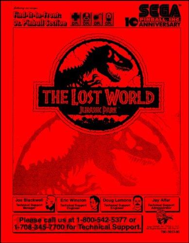 Jurassic Park The Lost World Pinball Service Manual/Coin Arcade Game Machine