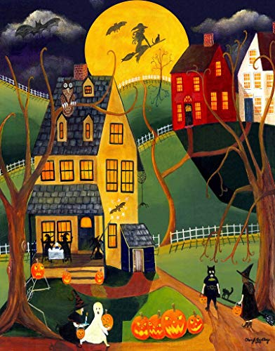 Wooden Jigsaw Puzzle - Halloween Trick or Treat - 363 Pieces by Nautilus Puzzles. Made in USA.
