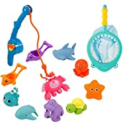 Biubee 12 Pcs Bath Fishing Game Toys for Baby and Toddlers - Fun Bathtime Squirting Floating Color-Changing Fishing Toys with Pole and Net for Kids Interactive Fishing Game in Bathtub