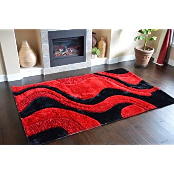 Perfect Fashion Style Soft Shag Area Rugs Red Black Color Abstract Pattern Luxury  Carpet (5x8)