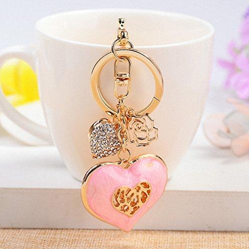 (Womens 3 Colors Heart Shape Keychain Key Ring Fashion Enamel Crystal Double Heart Key Holder Women Girl Handbag Car Pendant Charm Pink)