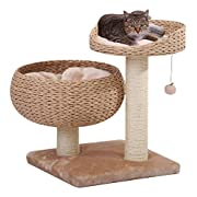#LightningDeal PetPals Paper Rope Natural Bowl Shaped with Perch Cat Tree