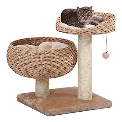 Cat Basket PetPals New Paper Rope Natural Bowl Shaped with Perch Cat... [tag]