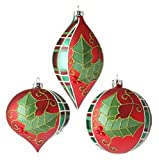 "Raz 4"" Red & Green Plaid Holly Glass Christmas Ornaments Set of 3 Assorted"