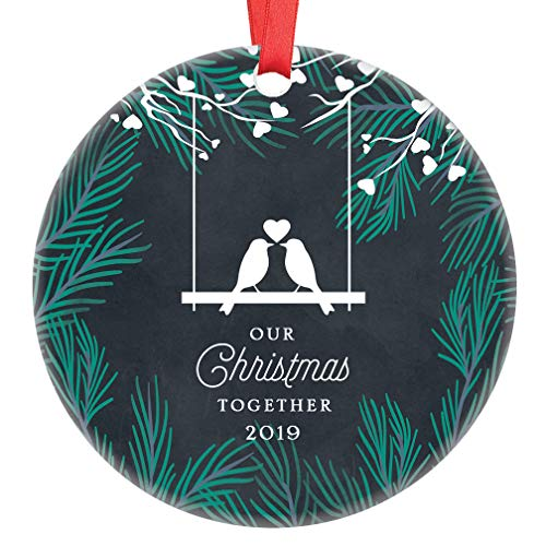 Our Christmas Together 2019 Ornament Cute Love Birds Couple Romantic Present Steady Partner Boyfriend Girlfriend Lovebirds Ceramic Keepsake 3