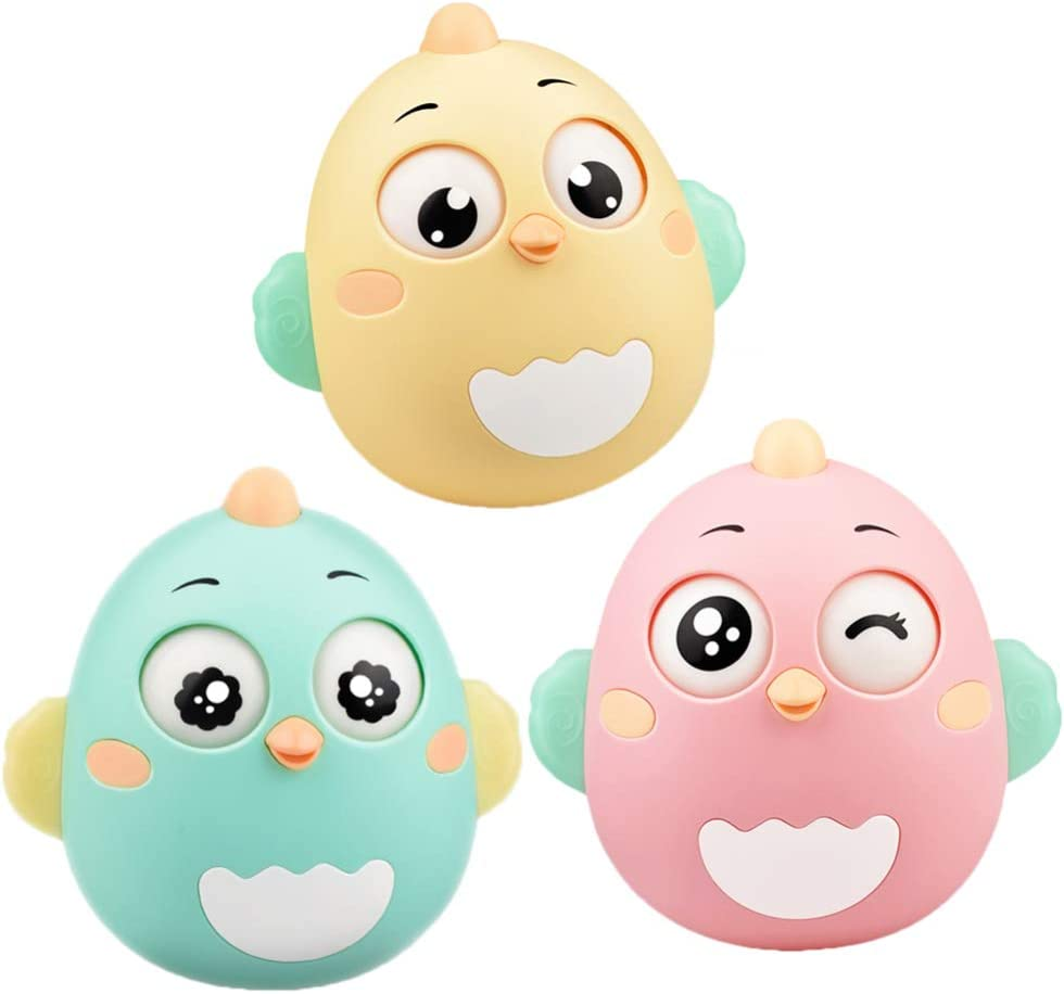TOYANDONA Tumbler Doll Roly-Poly Baby Toys Cartoon Rattles Toys Animal Figures Desktop Ornament Early Leaning Educational Toys for Kids Baby Newborns Infant