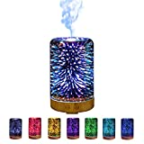 Hoomall humidifiers Multi Function Aromatherapy Essential Oil Diffuser with 7 Color 3D Glass LED Night Lights Pattern for Children Bedroom Spa Yoga (Flower Tree Shape)
