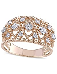 Diamond Accented Filigree Wide Band Milgrain Rope Fashion Ring 18k Rose Gold (0.25ct)